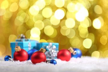 Christmas balls on bright background
