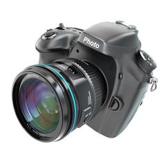 DSLR Digital photo camera isolted on white.
