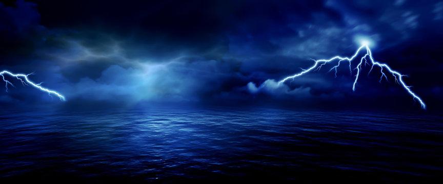 sea storm lightning ocean wallpaper background