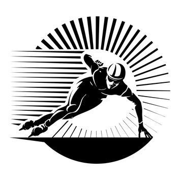 Speed skating. Vector illustration in the engraving style