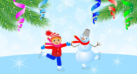 snow man with boy on skates and branches of christmas tree