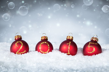 happy new year 2015 - balls on snow