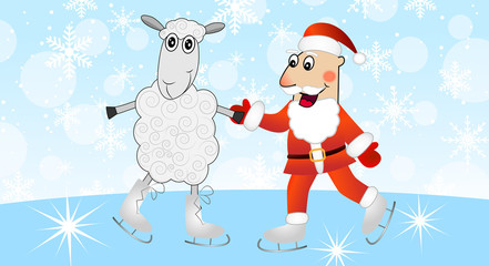 Santa claus with a sheep skate