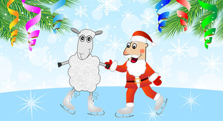 Santa claus with a sheep skates and branches of christmas tree