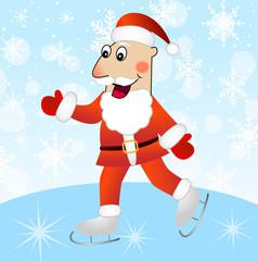 merry Santa claus on skates
