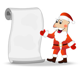 merry Santa claus shows on the sheet of paper