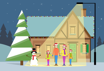 christmas eve holiday happy family house winter snow
