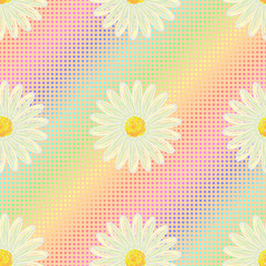 Seamless pattern with daisies on a colorful background