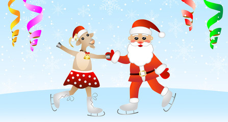 merry goat in a skirt and Santa claus on skates