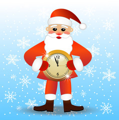 merry Santa claus with a clock