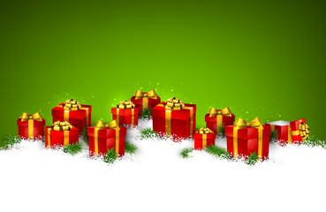 Christmas green background with gift boxes.