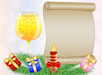 festive background with glass of champagne and christmas gifts