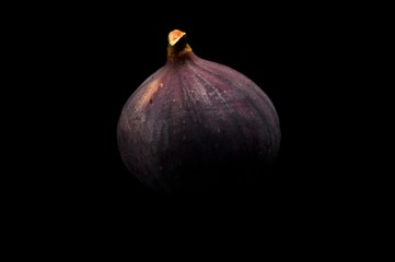 One fig isolated on black