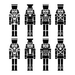 Christmas nutcracker - soldier figurine black icons set