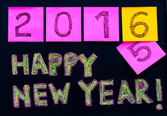 Happy New Year 2016 message on blackboard, celebration concept