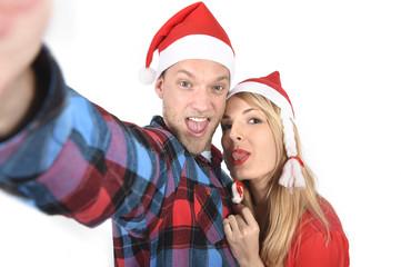 romantic couple taking Love Christmas selfie mobile photo