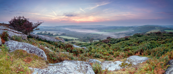Wall Mural - Sunrise over the Cornish Countryside