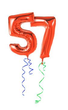 Rote Luftballons mit Geschenkband - Nummer 57