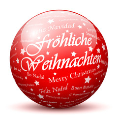 Fröhliche Weihnachten, Rote Kugel, Ball, Sphere, Grüße, 3D, XMAS
