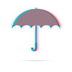 Umbrella anagliph icon with shadow
