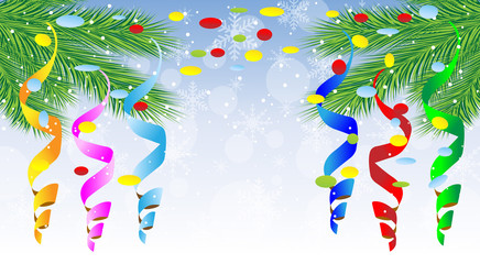 festive christmas background with green branches and serpentine