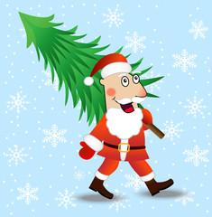Santa claus carries a green christmas tree
