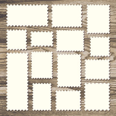 Set of blank stamps in white isolated on wooden texture