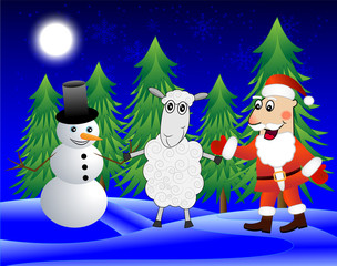 Santa claus, sheep and snow man  in the winter forest