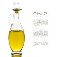 Golden Olive Oil on Glass Bottle with Sample Text. Isolated