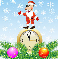 Santa claus, clock and green branches with toys