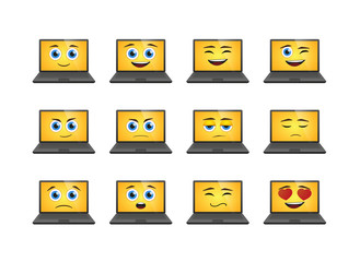 Cartoon laptop expression set