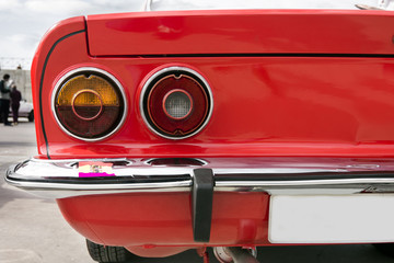 Closeup of the tail lights of car