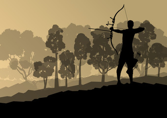 Active archery sport silhouette background vector in nature conc