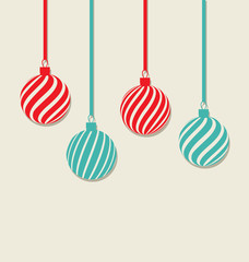 Christmas hanging balls with copy space for your text, simple st