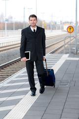 man in suit on business trip