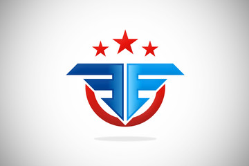 logo identity fly army star design