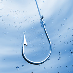 Fishing hook in water close-up with air bubbles around