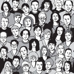 Seamless pattern unrecognizable people faces in crowd