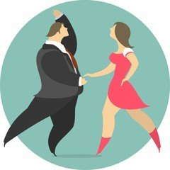 Vector Illustration Of A Couple Dancing In A Circle Emblem
