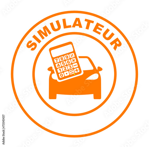 simulateur voiture sur bouton web rond orange stock image and royalty free vector files on. Black Bedroom Furniture Sets. Home Design Ideas