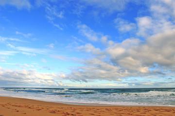 Blue sky, clouds and ocean beach
