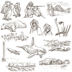 Polar Regions: Travel around the World. Freehand drawings.