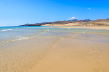 Beautiful golden sand Sotavento beach on Fuerteventura island