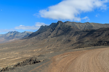 Unpaved road to Cofete beach, Fuerteventura, Canary Islands