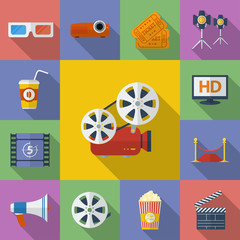Set of Cinema, Movie icons. Flat style