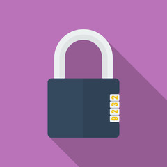 Icon of Padlock with code combination. Modern trendy flat style