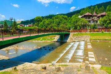 Bridge over Dunajec river in Szczawnica town, Pieniny, Poland