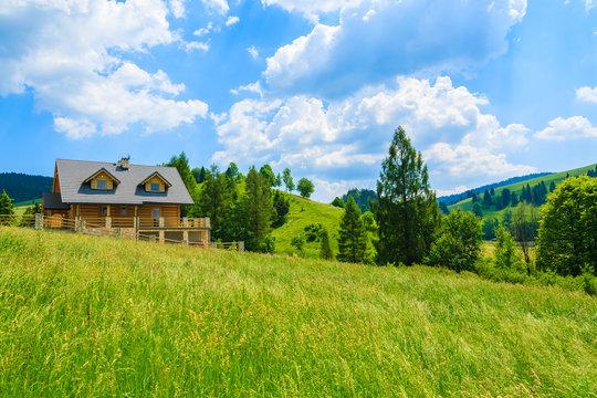 Wooden mountain house on green field in summer, Pieniny, Poland