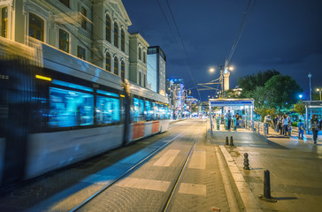 Istanbul train arriving in Sultanahmet Square at night