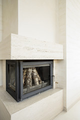 Vertical view of fireplace